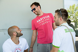 Boban Tomic, Sasa Zagorac and Anze Blazic during meeting of Slovenian National Nasketball Team at the beginning of Training camp for Eurobasket 2015, on July 18, 2015 in Ljubljana, Slovenia. Photo by Vid Ponikvar / Sportida