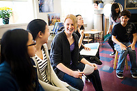 Eighth grader Tzara Geraghy, 13, center, sits in her drama class with her classmates at the Chinese American International School, a prekindergarten through eighth grade Chinese-immersion private school, in San Francisco, Ca., on Tuesday, March 22, 2011. The school has become one of the most competitive to get into in San Francisco. Only a third of its students come from Asian families, and even many of those families do not speak Chinese. Yet parents are relying on Chinese language skills for their kids' future. Lianne Milton for The Wall Street Journal