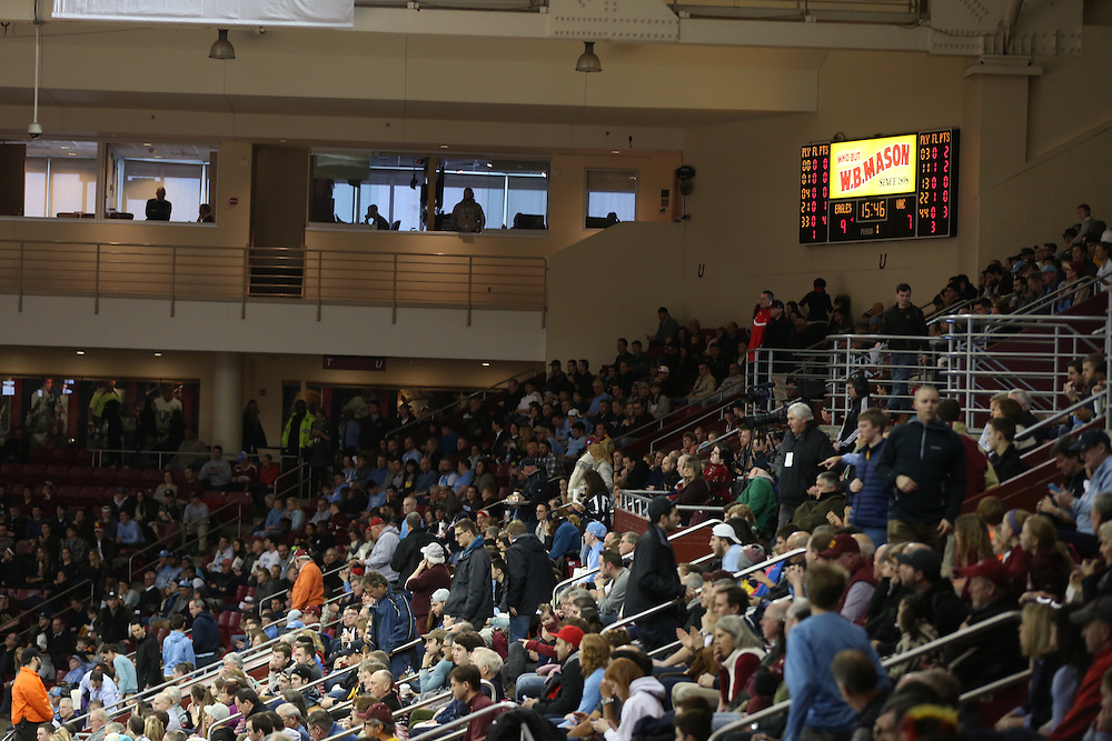 February 7, 2015, Chestnut Hill, Massachusetts:<br /> Corporate signage for Fenway Sports Management during a men's basketball game between Boston College and the University of North Carolina at Conte Forum in Chestnut Hill, Massachusetts Saturday, February 7, 2015.<br /> (Photo by Billie Weiss/FSM)