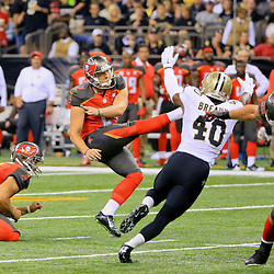 Sep 20, 2015; New Orleans, LA, USA;  Tampa Bay Buccaneers kicker Kyle Brindza (2) kicks a field goal against the New Orleans Saints during the second quarter of a game at the Mercedes-Benz Superdome. Mandatory Credit: Derick E. Hingle-USA TODAY Sports