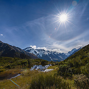 Aoraki Mount Cook viewed from red tarns with blue sky