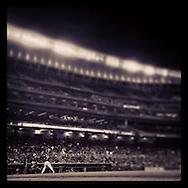 An Instagram of Joe Mauer of the Minnesota Twins batting at Target Field in Minneapolis, Minnesota.