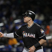 NEW YORK, NEW YORK - APRIL 12: Justin Bour, Miami Marlins, batting during the Miami Marlins Vs New York Mets MLB regular season ball game at Citi Field on April 12, 2016 in New York City. (Photo by Tim Clayton/Corbis via Getty Images)