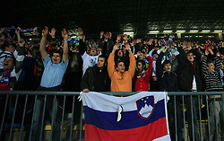 Slovenian fans during the fourth round qualification game of 2010 FIFA WORLD CUP SOUTH AFRICA in Group 3 between Slovenia and Northern Ireland at Stadion Ljudski vrt, on October 11, 2008, in Maribor, Slovenia.  (Photo by Vid Ponikvar / Sportal Images)