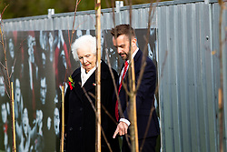 Marina Dolman and Matt Parsons look on Representatives of Bristol City take part in a ceremony to plant tree's in memory of the 7 Bristol City player's who lost their lives serving during WW1 - Rogan/JMP - 09/11/2018 - FOOTBALL - Failand Training Ground - Bristol, England.