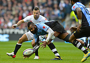 Twickenham, GREAT BRITAIN, Api NAIKAATINI, bends and scoopes the ball from the ground during the QBE International Series, England vs Fiji, Autumn International at Twickenham Stadium, Surrey on   Saturday  10/11/2012.  Mandatory Credit  [Peter Spurrier/Intersport-images]