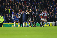 Football - 2019 / 2020 Premier League - Brighton & Hove Albion vs. Aston Villa<br /> <br /> Neal Maupay of Brighton has to be restrained from Ezri Konsa of Aston Villa after the final whistle as the two players continue to clash as they walk off at The Amex Stadium Brighton <br /> <br /> COLORSPORT/SHAUN BOGGUST