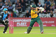 Alex Hales of Nottinghamshire Outlaws hits the ball through mid wicket during the Vitality T20 Blast North Group match between Nottinghamshire County Cricket Club and Worcestershire County Cricket Club at Trent Bridge, West Bridgford, United Kingdon on 18 July 2019.