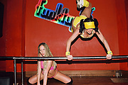 Two dancers acrobatically dancing at Funktup, December 2004