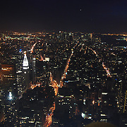 Aerial view of the island of Manhattan's sky scrapers from atop the Empire State Building.