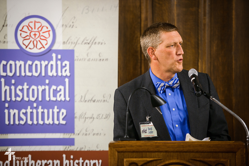 """David Fiedler, LCMS Foundation president and awards committee chair, speaks during the """"Trumpeting the Treasures"""" Concordia Historical Institute 42nd annual awards banquet on Thursday, Nov. 10, 2016, at Concordia Seminary, St. Louis. LCMS Communications/Erik M. Lunsford"""