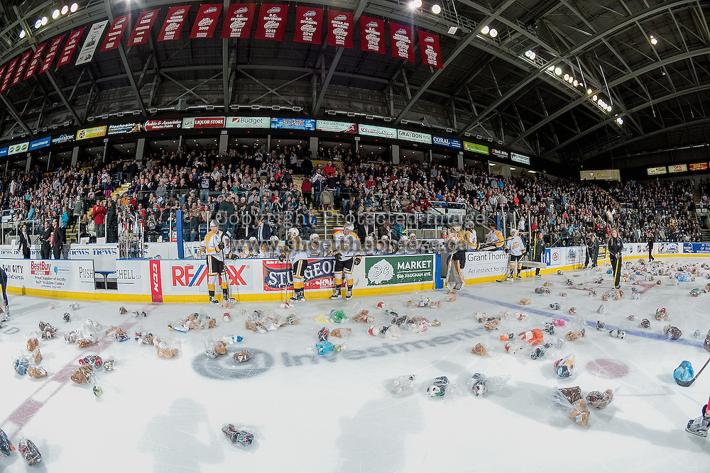 KELOWNA, CANADA - DECEMBER 3: The annual teddy bear toss is triggered by a second period goal by Nick Merkley #10 of the Kelowna Rockets against the Brandon Wheat Kings on December 3, 2016 at Prospera Place in Kelowna, British Columbia, Canada.  (Photo by Marissa Baecker/Shoot the Breeze)  *** Local Caption ***