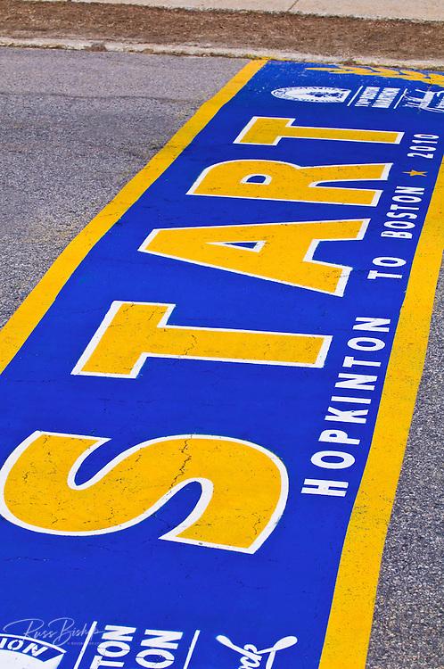 The starting line of the Boston Marathon (World's oldest annual), Hopkinton, Massachusetts