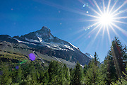 The Matterhorn (4478 m/14,692ft) rises above Zmutt Valley. From Zermatt, hike the scenic Höhbalmen Höhenweg loop via Bergrestaurant Edelweiss, Trift Hut and Zmutt, in the Pennine Alps, Switzerland, Europe. With delightful views of alpine meadows, peaks and glaciers, this strenuous walk went up and down 1200 meters over 21.6 km (13.4 miles).