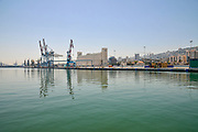 General view of the Port of Haifa, and the Dagon grain silos, Haifa, Israel