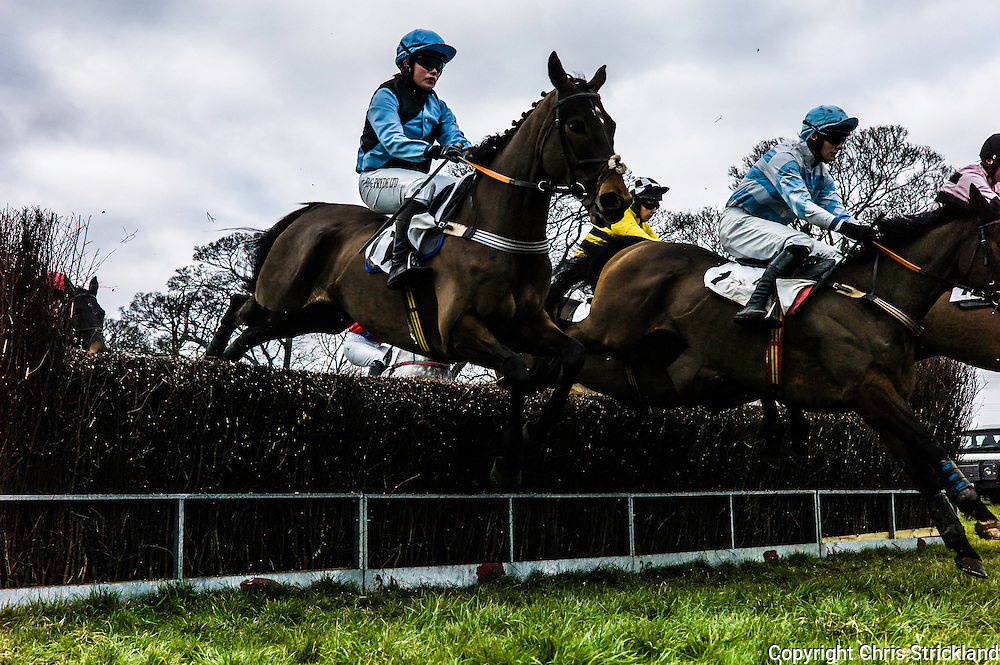 Corbridge, Northumberland, England, UK. 28th February 2016.  Oscar Stanley ridden by Joanna Walton (near) jumps a fence at the Tynedale Hunt annual Point to Point horse racing fixture.