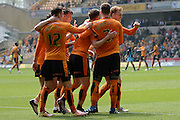 Wolverhampton Wanderers midfielder George Saville celebrates second goal 2-0 during the Sky Bet Championship match between Wolverhampton Wanderers and Sheffield Wednesday at Molineux, Wolverhampton, England on 7 May 2016. Photo by Alan Franklin.