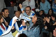 """Roma 3 Novembre 2005.Fiaccolata, davanti all'ambasciata iraniana di Roma, per diritto d'Israele all'esistenza, alla sicurezza e alla pace, contro le dichiarazioni antisemite del presidente iraniano Mahmoud Ahmadinejad, organizzata dal quotidiano """"Il Foglio""""  diretto da Giuliano Ferrara..Rome, November 3, 2005.Torchlight procession, in front of the Iranian Embassy in Rome, to the right of Israel to exist, for security and peace, against anti-Semitic statements by Iranian President Mahmoud Ahmadinejad organized by the newspaper """"Il Foglio"""" directed by Giuliano Ferrara."""
