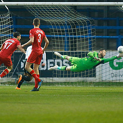 Hartlepool's keeper Scott Loach stretches for the ball during the National League match between Dover Athletic FC and Hartlepool United FC at Crabble Stadium, Kent on 24 November 2018. Photo by Matt Bristow.
