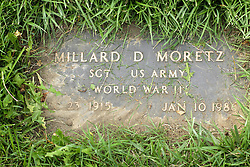 31 August 2017:   Veterans graves in Park Hill Cemetery in eastern McLean County.<br /> <br /> Millard D Moretz Sergeant US Army World War II Dec 23 1915 Jan 10 1986