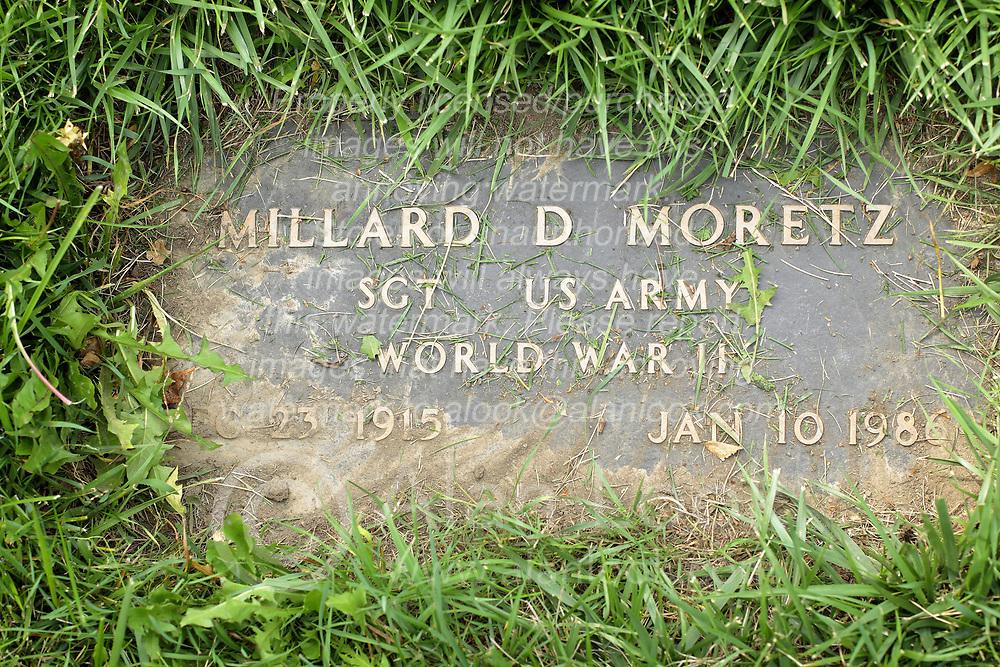31 August 2017:   Veterans graves in Park Hill Cemetery in eastern McLean County.<br /> <br /> Millard D Moretz Sergeant US Army World War II Dec 23 1915 Jan 10 1986