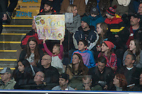 KELOWNA, CANADA - JANUARY 9: A fan holds a sign on January 9, 2016 at Prospera Place in Kelowna, British Columbia, Canada.  (Photo by Marissa Baecker/Shoot the Breeze)  *** Local Caption *** fans;