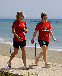 LARNACA, CYPRUS - Thursday, March 1, 2018: Wales' Charlie Estcourt and Hannah Miles during a team walk around the Palm Beach Hotel & Bungalows in Larnaca on day three of the Cyprus Cup tournament. (Pic by David Rawcliffe/Propaganda)