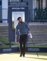 Jamie Dornan. Alfred Dunhill Links Championship this morning at St Andrews.