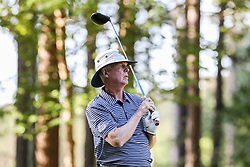 Tom O'Brien tees off on the 10th tee during the Chick-fil-A Peach Bowl Challenge at the Ritz Carlton Reynolds, Lake Oconee, on Tuesday, April 30, 2019, in Greensboro, GA. (Karl L. Moore via Abell Images for Chick-fil-A Peach Bowl Challenge)