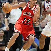 12 March 2012: Chicago Bulls center Joakim Noah (13) posts up New York Knicks power forward Amare Stoudemire (1) during the Chicago Bulls 104-99 victory over the New York Knicks at the United Center, Chicago, Illinois, USA.