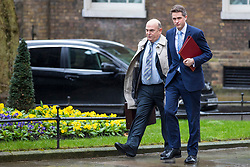 © Licensed to London News Pictures. 12/03/2018. London, UK. Defence Secretary Gavin Williamson (R) on Downing Street ahead of a National Security Council meeting where the Salisbury spy incident is to be discussed. Photo credit: Rob Pinney/LNP