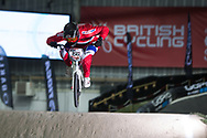 #150 (HELLEVIK Martin) NOR at the 2014 UCI BMX Supercross World Cup in Manchester.