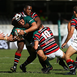 DURBAN, SOUTH AFRICA - APRIL 18: Marco Palvie of Glenwood is held up during the 2015 Mutual & Federal Premier Interschools match between Glenwood High School and Maritzburg College at Growthpoint Kings Park on April 18, 2015 in Durban, South Africa. (Photo by Steve Haag/Gallo Images)