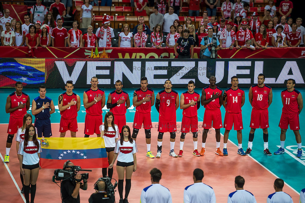 06.09.2014, Jahrhunderthalle, Breslau, POL, Venezuela vs Serbien, Gruppe A, im Bild presentation Venezuela // during the FIVB Volleyball Men's World Championships Pool A Match beween Uenezuela and Serbia at the Jahrhunderthalle in Breslau, Poland on 2014/09/06.<br />