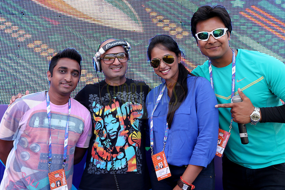 Stadium DJs and MCs on the main stage during the first semi final match of the Oppo Champions League Twenty20 between the Kolkata Knight Riders and the Hobart Hurricanes held at the Rajiv Gandhi Cricket Stadium, Hyderabad, India on the 2nd October 2014. Photo by:  Jacques Rossouw / Sportzpics/ CLT20<br /> <br /> <br /> Image use is subject to the terms and conditions as laid out by the BCCI/ CLT20.  The terms and conditions can be downloaded here:<br /> <br /> http://sportzpics.photoshelter.com/gallery/CLT20-Image-Terms-and-Conditions-2014/G0000IfNJn535VPU/C0000QhhKadWcjYs