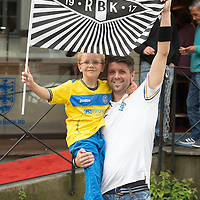 Rosenborg v St Johnstone....17.07.13  UEFA Europa League Qualifier.<br /> St Johnstone fans in Trondheim..Pictured from left Ruben Macdonald (6) and his dad Dave<br /> Picture by Graeme Hart.<br /> Copyright Perthshire Picture Agency<br /> Tel: 01738 623350  Mobile: 07990 594431