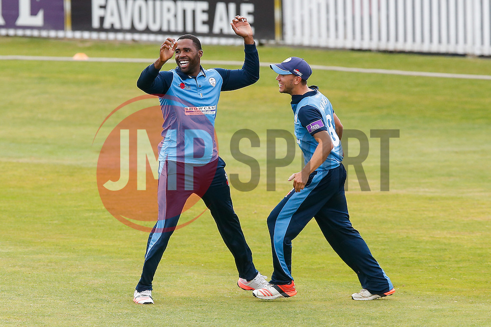 Chesney Hughes of Derbyshire celebrates after taking his second catch, this time to dismiss Jamie Overton of Somerset for 9 (b. Ben Cotton), to secure victory in the match - Mandatory byline: Rogan Thomson/JMP - 07966 386802 - 26/07/2015 - SPORT - CRICKET - Taunton, England - County Ground - Somerset v Derbyshire Falcons -Royal London One-Day Cup.