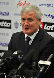 © Licensed to London News Pictures. 11/01/2012. London, UK.  MARK HUGHES speaking a press conference at Loftus Road football ground on January 11th, 2012 to unveil MARK HUGHES as the new manager of QPR. Photo credit : Ben Cawthra/LNP