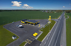 Olerex gas station in Põlva, Estonia. Roadside petrol station, aerial view.