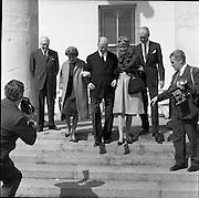 02/08/1962<br /> 08/02/1962<br /> 02 August 1962<br /> Ambassador Oil Co. representatives at Aras an Uachtarain.<br /> Picture shows Mr F. Kirk Johnston, Chairman of Ambassador Oil Corporation and President of Ambassador Irish Oil Co.; Mrs Johnston; President Eamon de Valera; Mrs Stewart and James (Jimmy) Stewart at the Aras.