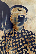 partly silver mirroring photograph portrait of a young adult boy Japan
