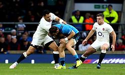 Ben Te'o of England tackles Michele Campagnaro of Italy - Mandatory by-line: Robbie Stephenson/JMP - 26/02/2017 - RUGBY - Twickenham Stadium - London, England - England v Italy - RBS 6 Nations round three