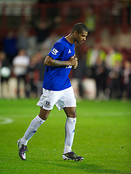 BRENTFORD, ENGLAND - Tuesday, September 21, 2010: Everton's Jermaine Beckford looks dejected after his penalty is saved during the penalty shoot-out during the Football League Cup 3rd Round match against Brentford at Griffin Park. (Photo by David Rawcliffe/Propaganda)
