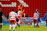 AFC Wimbledon goalkeeper George Long (1), on loan from Sheffield United, claims the ball during the EFL Sky Bet League 1 match between Doncaster Rovers and AFC Wimbledon at the Keepmoat Stadium, Doncaster, England on 1 May 2018. Picture by Simon Davies.