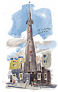"This five-story rocket sits on the corner of Evanston Avenue North and North 35th Street in Seattle's Fremont neighborhood. A piece of fuselage repurposed from a military aircraft forms the whimsical spaceship. It comes with a mission: ""De Libertas Quirkas — Freedom to Be Peculiar. (Gabriel Campanario / The Seattle Times)"