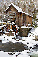 67395-04320 Glade Creek Grist Mill in winter, Babcock State Park, WV