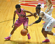 """Ole Miss' Amber Singletary (20) vs. Georgia's Shacobia Barbee (20) in women's basketball at the C.M. """"Tad"""" Smith Coliseum in Oxford, Miss. on Sunday, February 24, 2013. Georgia won 73-54."""