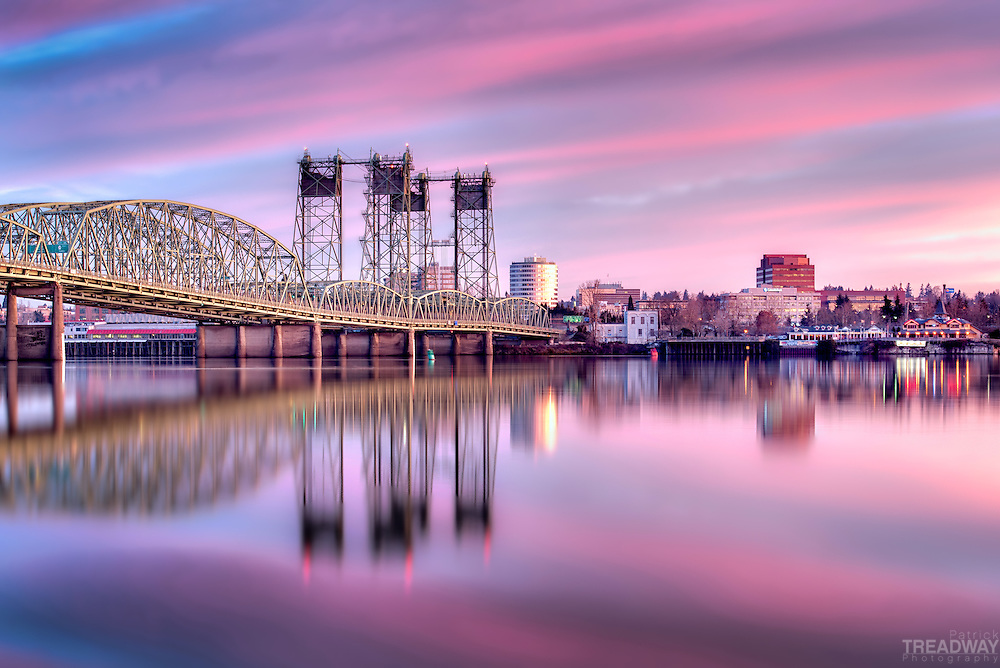 Sunrise with the Interstate Bridge which connects Portland, Oregon and Vancouver, Washington over the Columbia River.