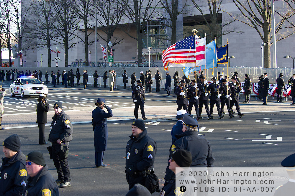 The Washington DC Metropolitan Police Department Honor Guard during parade for the 57th Presidential Inauguration of President Barack Obama at the U.S. Capitol Building in Washington, DC January 21, 2013.