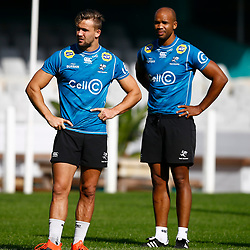 Jeremy Ward of the Cell C Sharks with JP Pietersen of the Cell C Sharks during The Cell C Sharks Captain's Run session at Jonsson Kings Park Stadium in Durban, South Africa 11th July 2019 (Photo by Steve Haag)